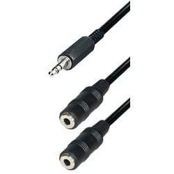 Cable jack m 3,5ST - 2x jack h 3,5ST 0,2m A71