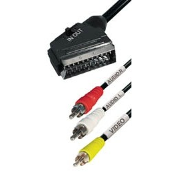 Cable euro (in-out) a 3xRCA m 2m E-VM11S